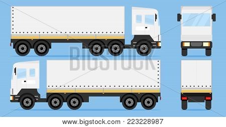 Truck on three sides. Three sides of the truck. Flat design, vector illustration, vector.