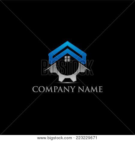 Home repair emblem with Gear and symbol of a house. Creative home logo design idea. Home repair services icon design.