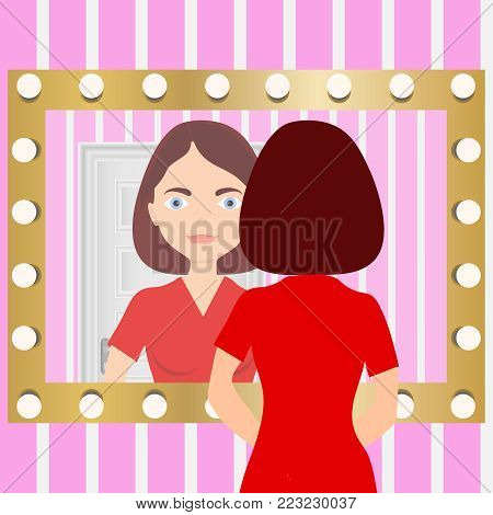 A woman looks in the mirror. Reflection of a woman in a mirror. Flat design, vector illustration, vector.
