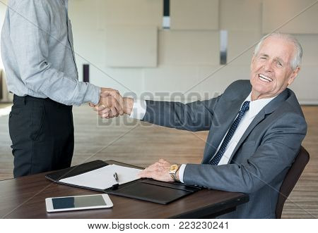Ecstatic successful businessmen concluding new deal. Cheerful handsome senior executive shaking hand of subordinate while welcoming new employee. Agreement concept
