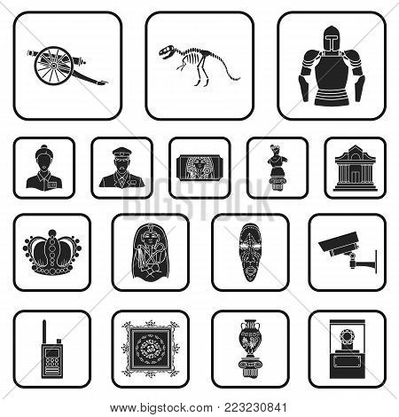 Museum and gallery black icons in set collection for design. Storage and exhibition of showpiece vector symbol stock  illustration.