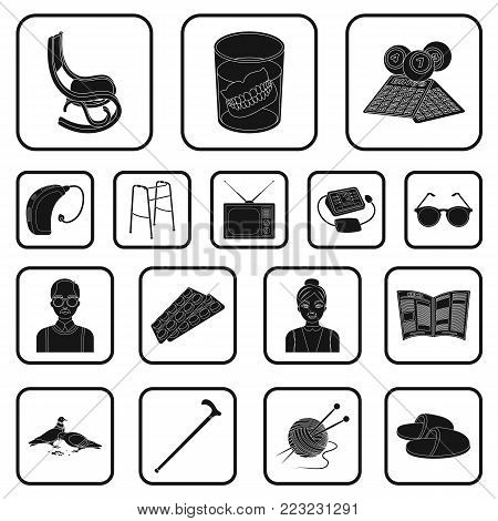 Human old age black icons in set collection for design. Pensioner, period of life vector symbol stock  illustration.