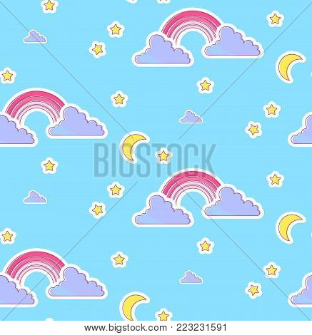 Nursery Baby Seamless Pattern with Rainbow, Clouds, Moon and Stars. Night Sky Design.