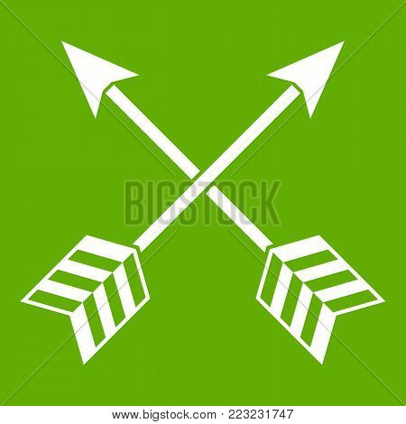 Arrows LGBT icon white isolated on green background. Vector illustration