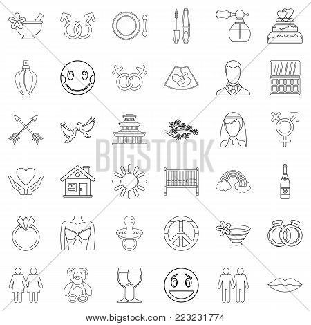 Love affair icons set. Outline set of 36 love affair vector icons for web isolated on white background