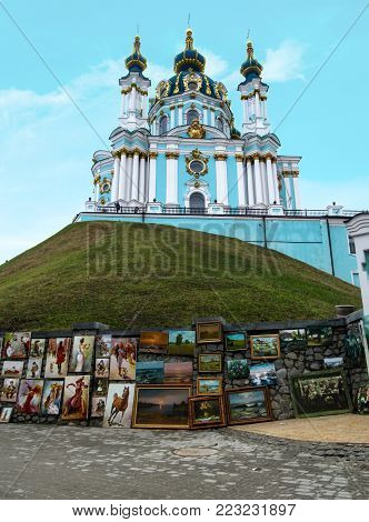 Kiev, Ukraine - December 31, 2017: A beautiful orthodox bright turquoise temple on a hill in the Baroque style, designed by the Italian architect Bartolomeo Rastrelli - St. Andrew's Church