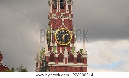 Kremlin chimes in the Spassky tower. Red Square. Moscow