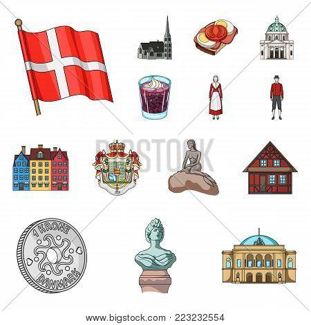 Country Denmark cartoon icons in set collection for design. Travel and attractions Denmark vector symbol stock illustration.