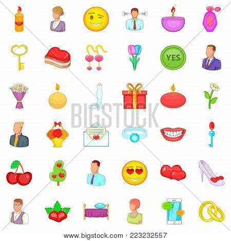 Romantic story icons set. Cartoon set of 36 romantic story vector icons for web isolated on white background