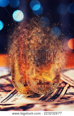 Bitcoins exploding and dissolving, virtual cryptocurrency value drops