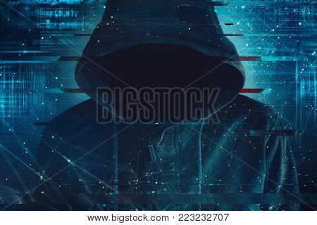 Cybersecurity, computer hacker with hoodie and obscured face, computer code overlaying image