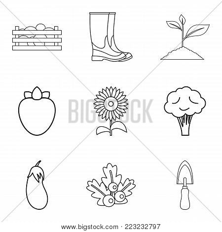 Gardening icons set. Outline set of 9 gardening vector icons for web isolated on white background