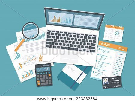 Financial audit, accounting, analytics, data analysis, report, research. Documents with charts graphs, report, magnifying glass, calculator, calendar, auditor's identification card, notebook. Vector