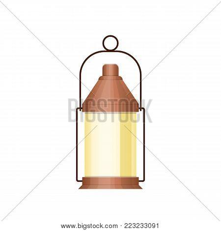 Gasoline lamp, burner, lamp, night light. Illumination of the room and environment. Lamp on road, travel, for work, lighting surrounding area. Sea travel elements. Marine object. Vector illustration
