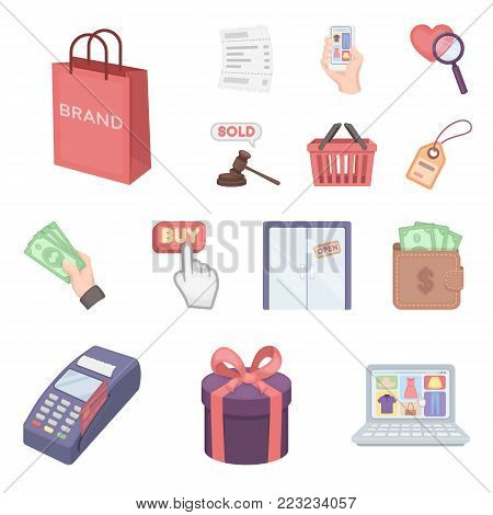 E-commerce, Purchase and sale cartoon icons in set collection for design. Trade and finance vector symbol stock  illustration.