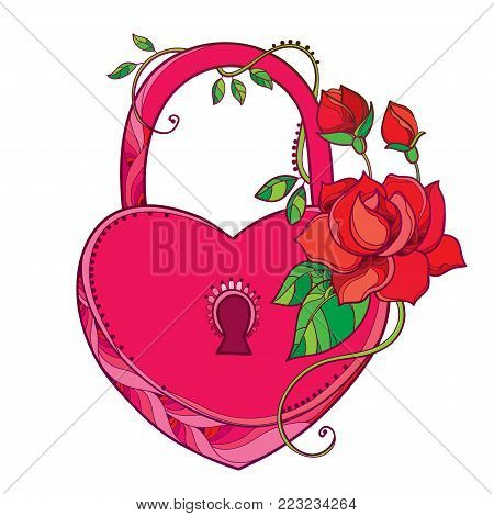 Vector drawing of lock heart in pink with ornate roses and green leaf isolated on white background. Contour heart padlock with red flowers for Valentine day decor or romantic holiday design.