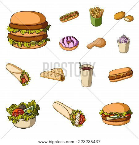 Fast food cartoon icons in set collection for design.Food from semi-finished products vector symbol stock  illustration.