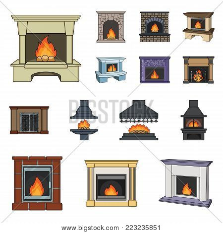 Different kinds of fireplaces cartoon icons in set collection for design.Fireplaces construction vector symbol stock  illustration.