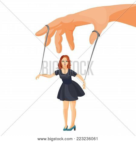 Domestic violence and manipulation over woman metaphorical isolated cartoon flat vector illustration. Female character on ropes attached to fingers like puppet.