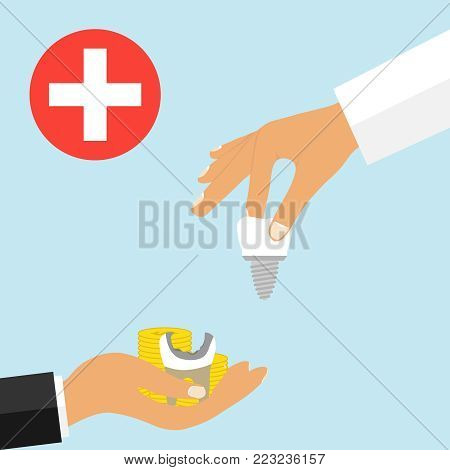 Insert a tooth implant for money. Commercial medicine. The person in the palm of the hand holds out the money with the tooth in exchange for the implant. Flat design, vector illustration, vector.