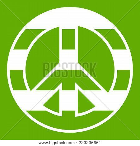 LGBT peace sign icon white isolated on green background. Vector illustration