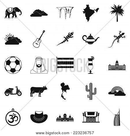 Exotic animal icons set. Simple set of 25 exotic animal vector icons for web isolated on white background