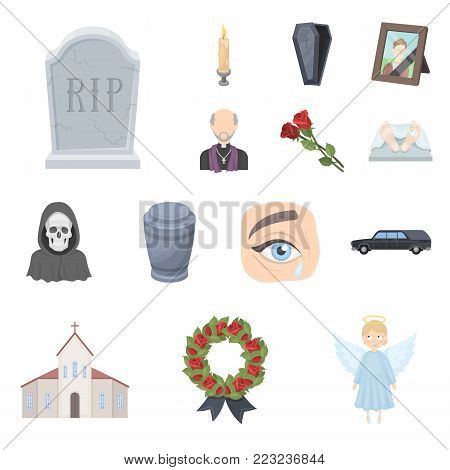 Funeral ceremony cartoon icons in set collection for design. Funerals and Attributes vector symbol stock  illustration.