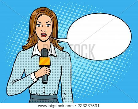 Journalist is reporting with microphone pop art retro vector illustration. Text bubble. Color background. Comic book style imitation.