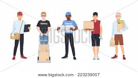 Collection of smiling delivery men. Set of courier boys holding packaged parcels, pizza boxes, paper bags with food. Flat cartoon characters isolated on white background. Colorful vector illustration