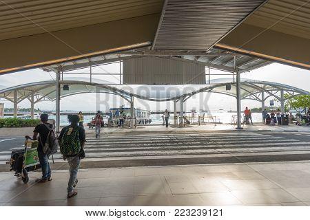 Male Maldives - June 13 2017: People Waiting At Ibrahim Nasir International Airport In Male Maldives