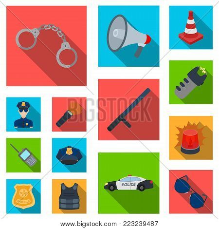 Police, Department flat icons in set collection for design.Detective and accessories vector symbol stock  illustration.
