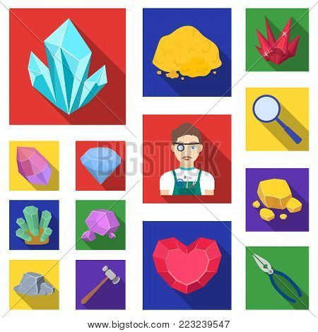 Precious Minerals flat icons in set collection for design. Jeweler and Equipment vector symbol stock  illustration.