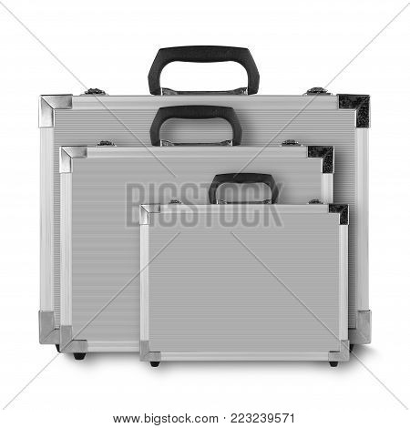 Construction, repair, tools - Three Grey box case for tools on white background.
