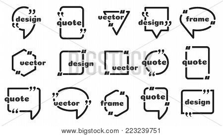 Frame for text. Website review quote citation blank templates. Website review vector icon.