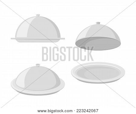 Set of trays for hot dishes, illustration.