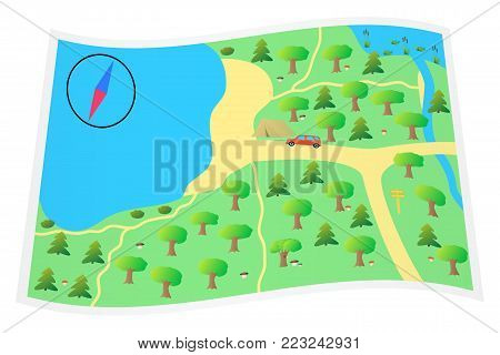 Vector illustration the map for tourists. EPS 10.