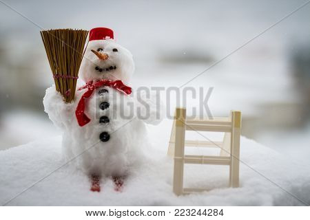 Christmas Snowman. Christmas Decoration With Christmas Toys