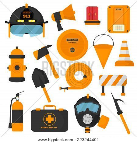 Set of designed firefighter elements. Coloured fire department emergency icons and water  safety danger equipment. Fireman protection.
