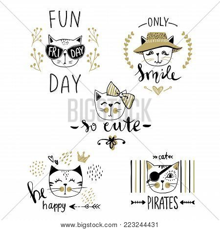 Vector card series with cute fashion cats. Stylish kitten set. Trendy illustration in sketch style  t-shirt print, cards, poster. Doodle Kitty. Kids animals. Funny character.