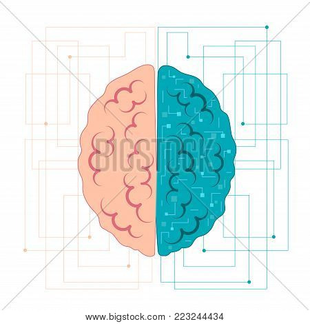 the brain of artificial intelligence. Left and right hemisphere with neural connections. Vector