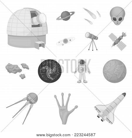 Space technology monochrome icons in set collection for design.Spacecraft and equipment vector symbol stock  illustration.
