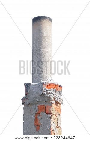 the old smokestack isolated on white background