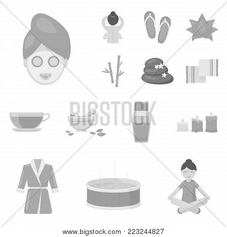Spa salon and equipment monochrome icons in set collection for design. Relaxation and rest vector symbol stock  illustration.