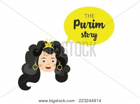 the story of Purim . Ester , main character of the story. vector illustration