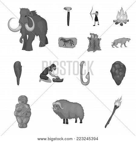 Life in the Stone Age monochrome icons in set collection for design. Ancient people vector symbol stock  illustration.