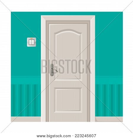 Wooden door with convenient metal handle in bright turquoise wall with plastic light switch isolated cartoon flat vector illustration on white background.