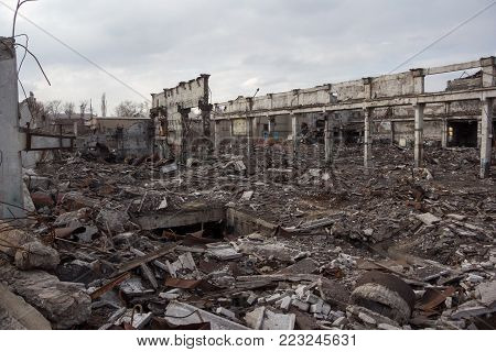 Destroyed industrial buildings, can be used as demolition, war, bomb, terrorist attack, earthquake or any other natural disaster concept.