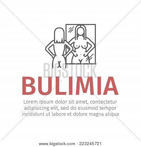 Bulimia, anorexia. Line icon. Vector sign for web graphic