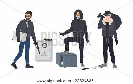 Gang of robbers or burglars dressed in black clothes standing beside opened bank safes. Group of male thieves committing burglary or theft. Flat cartoon characters. Colorful vector illustration poster