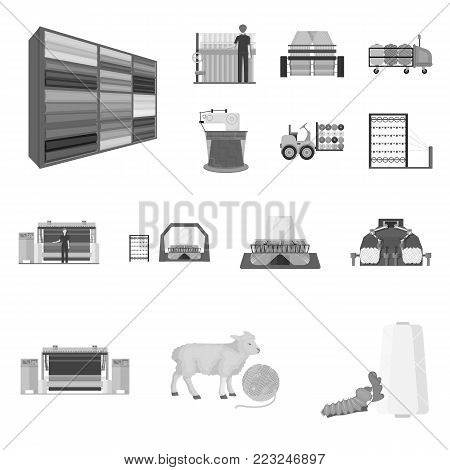 Textile industry monochrome icons in set collection for design.Textile equipment and fabrics vector symbol stock  illustration.